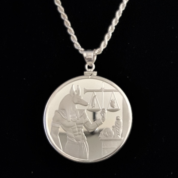 EGYPT ANUBIS SILVER PLATED COIN EDGE BEZEL ONE AND ONE HALF IN 85 OB V2