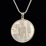 EGYPT CLEOPATRA ONE OZ. 999% SILVER DIAMOND CUT BEZEL ONE AND ONE HALF IN 115 OB