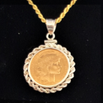 FRANCE TWENTY FRANCE-GOLD 1912 ONE INCH ROPE EDGE BEZEL 395 OB V3