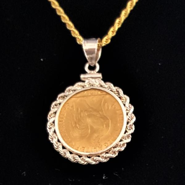 FRANCE TWENTY FRANCE-GOLD 1912 ONE INCH ROPE EDGE BEZEL 395 REV V1