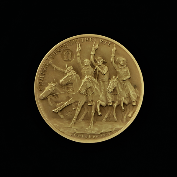 1A.. COMING THROUGH THE RYE 1971 BY FREDERIC REMINGTON PRE-OWNED,EXCELLENT CONDITION GUARANTEED GOLD-PLATED MACO MEDAL 46.00X4.00MM 1.81102X 0.15748 IN. FRONT $43.62 $55