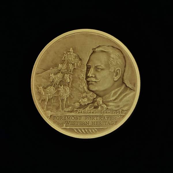 1B.. COMING THROUGH THE RYE 1971 BY FREDERIC REMINGTON PRE-OWNED,EXCELLENT CONDITION GUARANTEED GOLD-PLATED MACO MEDAL 46.00X4.00MM 1.81102X 0.15748 IN. REVERSE $43.62 $55