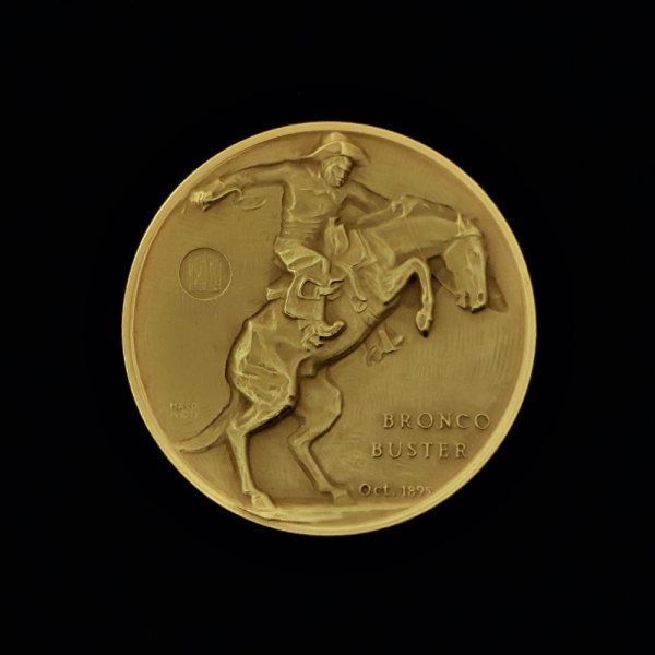 2A BRONCO BUSTER BY FREDERIC REMINGTON 1971 GOLD-PLATED MEDAL 46.30X4.00MM OB $38.62 $55.00