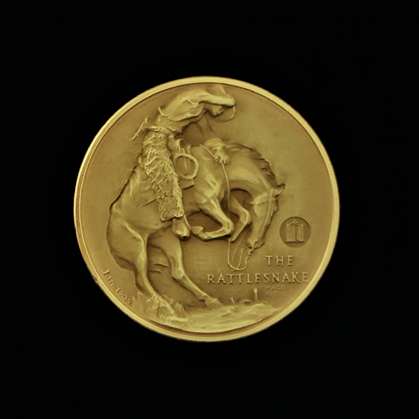 4A.. THE RATTLESNAKE 1971 BY FREDERIC REMINGTON PRE-OWNED,EXCELLENT CONDITION GUARANTEED GOLD-PLATED MACO MEDAL 46.30X4.00MM 1.822831X 0.15748 IN. FRONT $38.62 $55