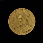 5A.. THE SARGEANT 1971 BY FREDERIC REMINGTON PRE-OWNED,EXCELLENT CONDITION GUARANTEED GOLD-PLATED MACO MEDAL 46.00X4.00MM 1.81102X 0.15748 IN. FRONT $14.5 $55