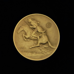6A.. THE CHEYENNE 1971 BY FREDERIC REMINGTON PRE-OWNED,EXCELLENT CONDITION GUARANTEED GOLD-PLATED MACO MEDAL 46.30X4.00MM 1.822831X 0.15748 IN. FRONT $43.62 $55