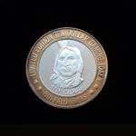 Red Cloud 1822 – 1909) Leader of the Oglala Lakota People Buffalo Bills Nevada Casino $10 Gaming Token .999 % Sterling SIlver, Bronze Bezel 43.30×2.80,1.625 in OB 38 V2