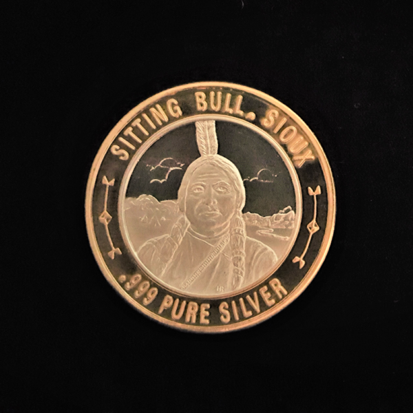 Sitting Bull, 1831-1890 Chief Hunkpapa Lakota People Killed By Indian Agency Police Sterling Silver Proof 43.30×2.80 OB $38.00
