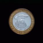 James Butler WILD BILL Hickok 1837-1876 Gunfighter,Marshall Abilene Buffalo Bills Nevada Casino $10 Gaming Token .999% Sterling SIlver, Bronze Bezel Diameter 1.65in OB#2 38