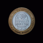 James Butler WILD BILL Hickok 1837-1876 Gunfighter,Marshall Abilene Buffalo Bills Nevada Casino Gaming Token .999 % Sterling SIlver, Bronze Bezel Diameter 1in REV#2 38