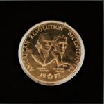 AMERICAN REVOLUTION BICENTENNIAL 1775-1975 SAMUEL ADAMS -PATRICK HENRY.1973 BRONZE 1.50IN.38.00X2.802MM OB