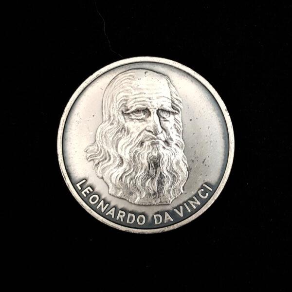 Leonardo Da Vinci Renassance Man -Concept of Manned Flight Silver Medal .86oz 24.22g 1.50in 38.19×3.10 mm ob 39