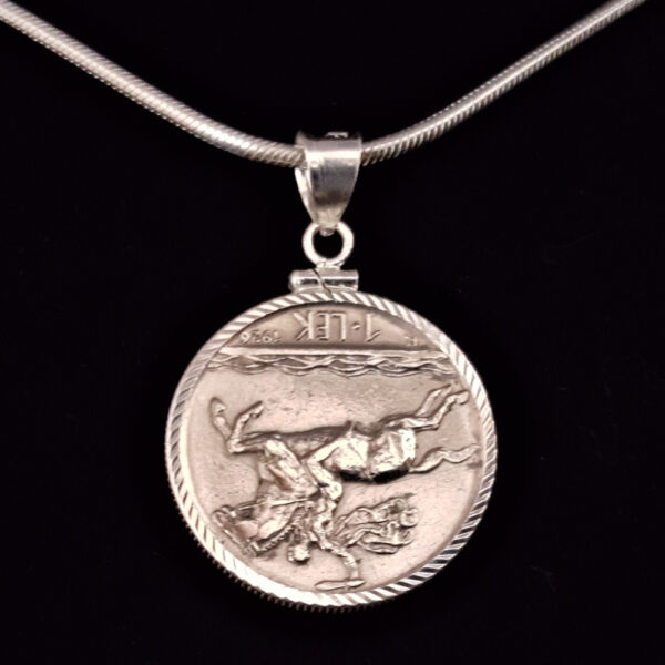 ALBANIA One Lek 1931 26.63 x1.91 Diamond Cut Bezel Sterling Silver Necklace rev