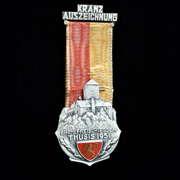 Schweizer Shooting Medal Kranz Award Freies Shooting Thusis 1951Swiss Shooting Medal Wreath Award Free Shooting Thusis 1951 3,25 x 1,50 in