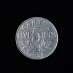CANADA Five Cents 1934 .13oz .76in 19.50×1.75mm 7$11mm rev