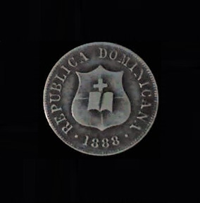 DOMINICAN REPUBLIC Two and One Half Centavos 1888 Silver .07oz .75in 17.83×1.13 mm ob 10$17