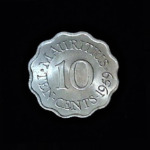 MAURITIUS Ten Rupee 1959 23.00×1.60mm .897in .20$4.00 rev