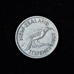 NEW ZEALAND Six Pence 1957 .102oz .758in 19.25×1.38mm rev 4$7