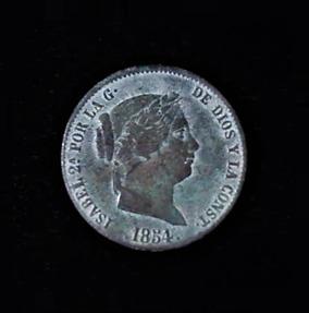 SPAIN Twenty Five Centimos de Real Isabel II Bronze .37oz 1.125 in 27.19×2.14 7$35 ob