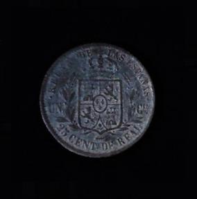 SPAIN Twenty Five Centimos de Real Isabel II Bronze .37oz 1.125 in 27.19×2.14 7$35 rev
