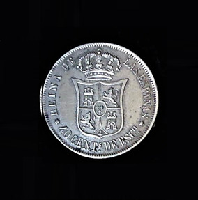 SPAIN.MADRID Forty Cents De Escudo 1866 Isabel II .183oz .875in 23.40×1.40mm 27$39 ob