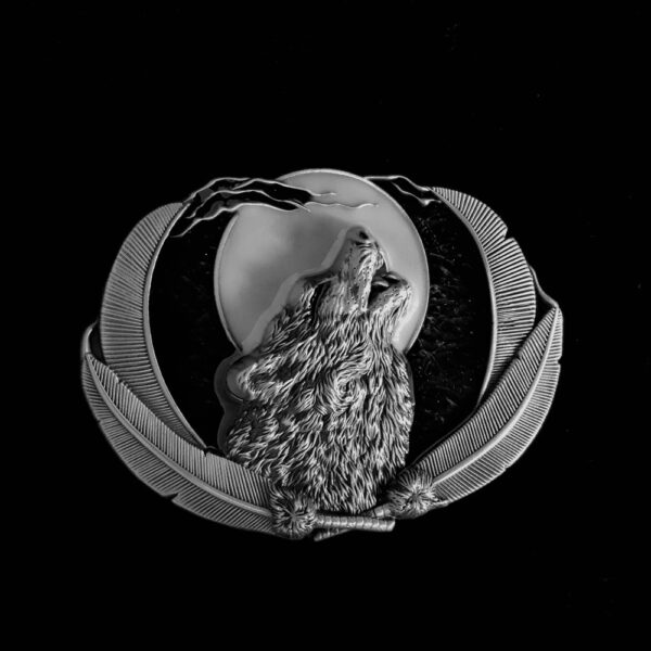 HOWLING WOLF AGAINST MOON SILVER BELT BUCKLE