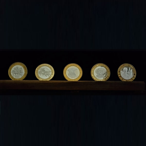 AMERICAs OLD WEST $10 GAMING TOKENS LIIMTED EDITION .999% STERLING SILVER 30.00 mm Center and BRONZE Bezel 43.30 X 3.00 MM SURROUND