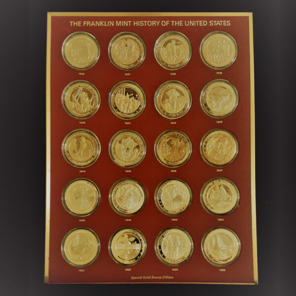 UNITED STATES HISTORY 1836 to 1855 The Franklin Mint 20 Bronze Coins 1.70in. 44.00mm x 2.50mm on Board 11 x13in. OB 23.139