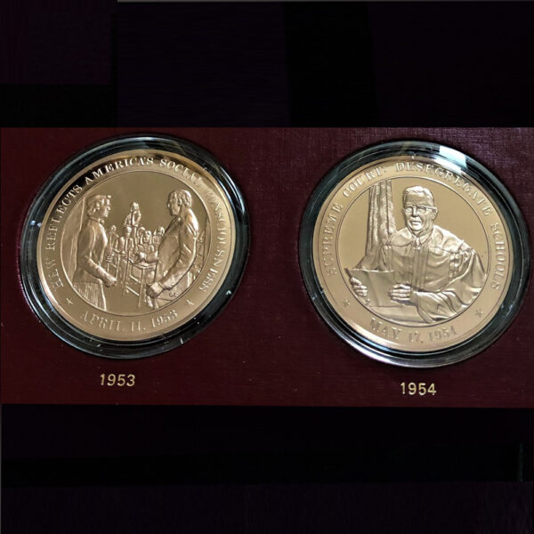 UNITED STATES HISTORY 1936 to 1955 The Franklin Mint 2 of 20 Bronze Coins 1.70in. 44.00mm x 2.50mm on Board 11 x13in. Rev 23.139 vv