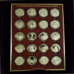UNITED STATES HISTORY 1936 to 1955 The Franklin Mint 20 Bronze Coins 1.70in. 44.00mm x 2.50mm on Board 11 x13in. OB 23.139 v2