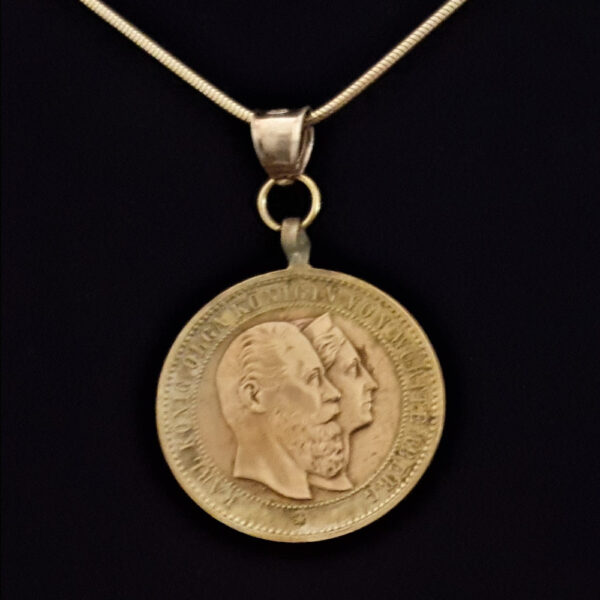 German Dual Tone Bronze Medal 1889 25th Anniversary Reigh of Karla Olga of Wurttemberg .334 oz 1.00 in 28.33 x 2.25 mm Gold Plated Chain 8+25+5=69 OB