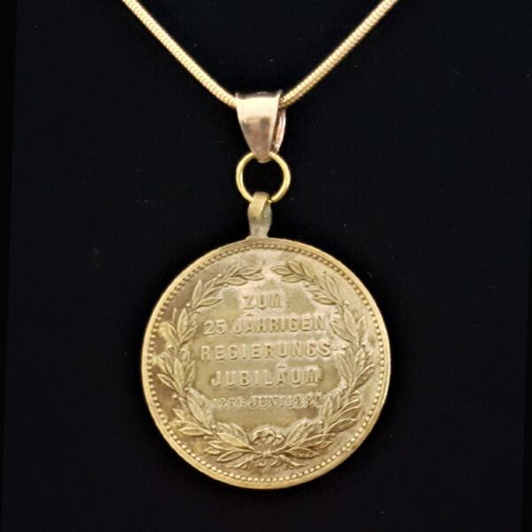 German Dual Tone Bronze Medal 1889 25th Anniversary Reigh of Karla Olga of Wurttemberg .334 oz 1.00 in 28.33 x 2.25 mm Gold Plated Chain 8+25+5=69 rev