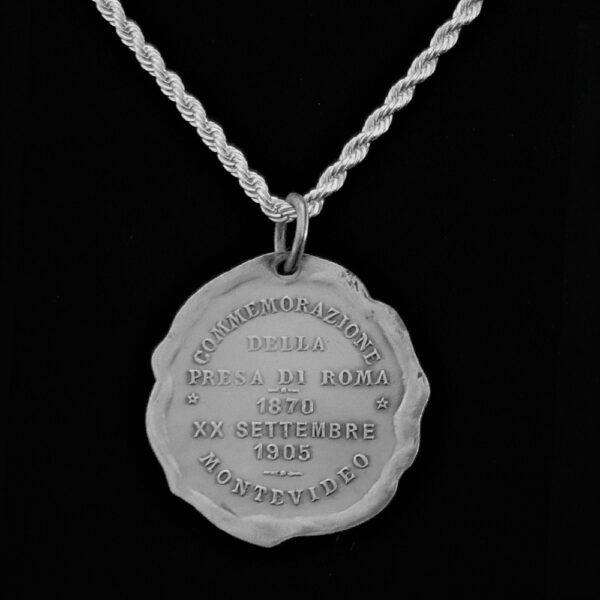 ITALY Sterling Silver Art Nouveau 1870 20 Settembre 1905 Medal Commemorazione Della Presta Di Roman 4.20 oz 1.20 in 31.00 x1.35 mm Sterling Silver Chain 59+25+5=129 rev v2