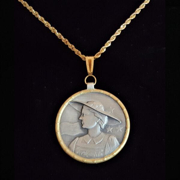 Swiss Medal 1950 Lady in Period Dress.Hat .716 oz 1.50 in x 32.75 x 3.00 mm by Aargau Argovie 10+20+5=59 OB MOD