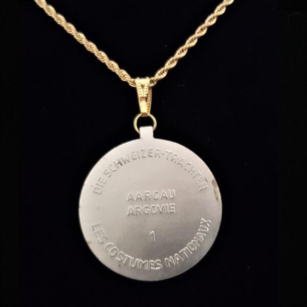 Swiss Medal 1950 Lady in Period Dress.Hat .716 oz 1.50 in x 32.75 x 3.00 mm by Aargau Argovie 10+20+5=59 REV