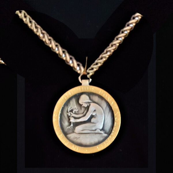 Swiss Medal Young Lady Planting 1946 .691oz 1.50 in x38.00 x2.25 mm gold plated rope chain 10+20=59 ob MODDD