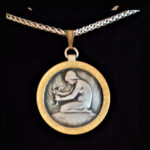 Swiss Medal Young Lady Planting 1946 .691oz 1.50 in x38.00 x2.25 mm gold plated rope chain 10+20=59 ob V2