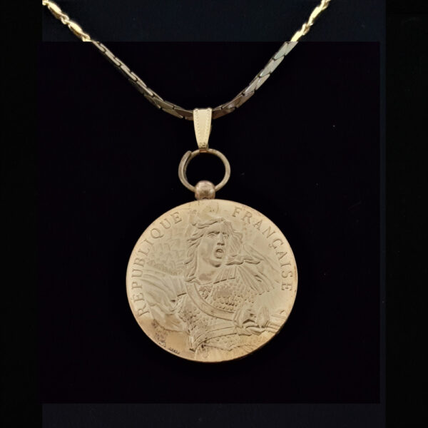 fRENCH WW ii French Defence Medal by Brflo Flat Rope Gold Plated Chain .80 oz 1.42 in x 36.00 x 3.50 mm Gold Peeling under magnification 13.39 OB MOD